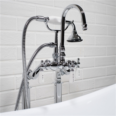 Edwardian Rigid Freestanding Tub Filler in Chrome