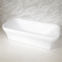 <br>SanSiro 'Eclipse79CHS' 78.5 x 39.5 inch Center Drain HYDRO-SPA Water and Air Jetted High Gloss White ACRYLIC Freestanding Bathtub