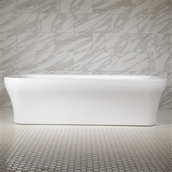 <br>SanSiro 'Eclispe79CWJ' 78.5 x 39.5 inch Center Drain WATER JETTED High Gloss White ACRYLIC Freestanding Bathtub