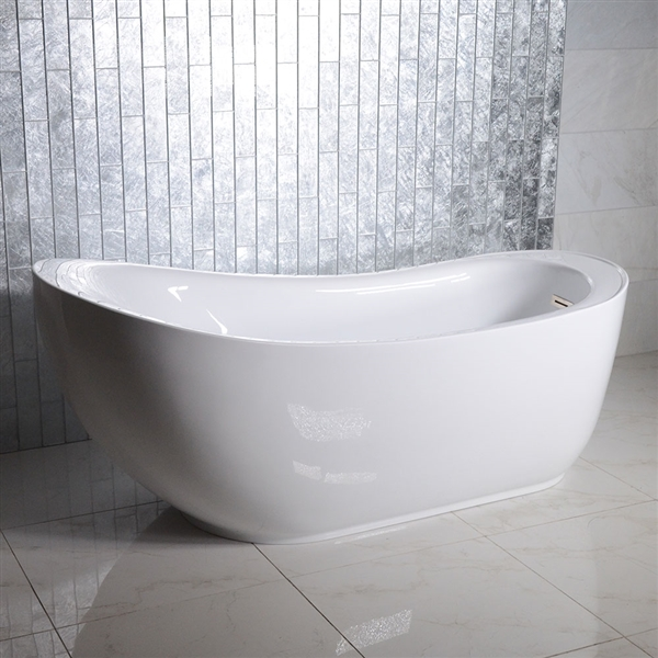 "<br>SanSiro 'Feronia71EHS' 71"" End Drain HYDRO-SPA Water and Air Jetted High Gloss White ACRYLIC Freestanding Bathtub"