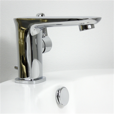 'No.49' Contemporary Lavatory Faucet with Pop-up Drain in Chrome
