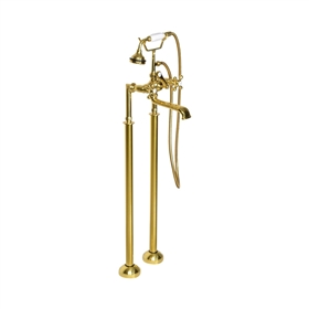 <br>Victoriana Freestanding British Telephone Style Tub Faucet in Un-lacquered Polished Brass