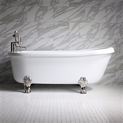 "<br>SS67A 67"" SanSiro HOT AIR Jetted Single Slipper Clawfoot Tub Package with Twin Chromotherapy"