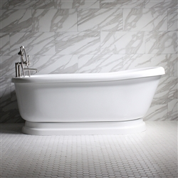"<br>SS67PDA 67"" SanSiro HOT AIR Jetted Single Slipper Pedestal Tub Package with Twin Chromotherapy"