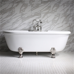 "<br>SS69W 69"" SanSiro WATER Jetted Double Ended Clawfoot Tub Package"