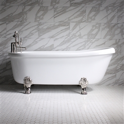 SanSiro 73in Whirlpool Water Clawfoot Tub Package