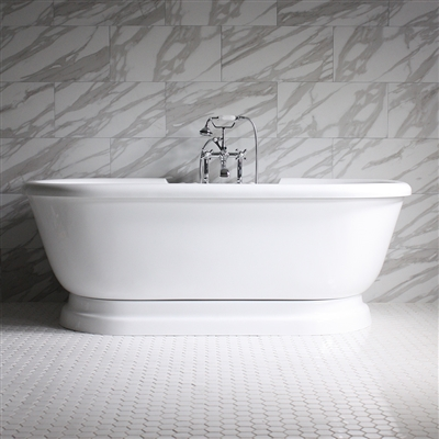 "<br>SSPD75W 75"" SanSiro WATER Jetted Double Ended Pedestal Tub Package"