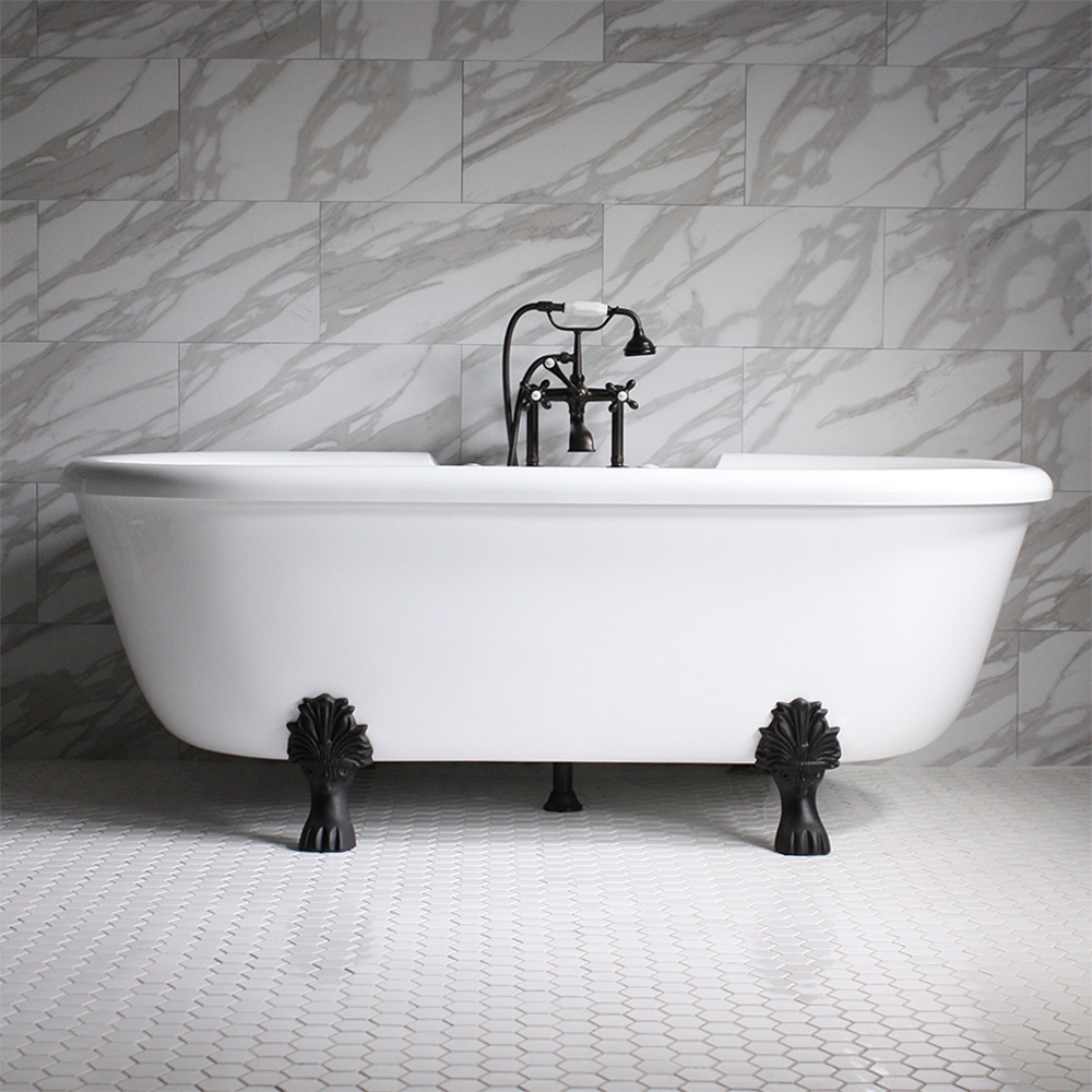Ss75w 75 Sansiro Water Jetted Double Ended Clawfoot Tub Package
