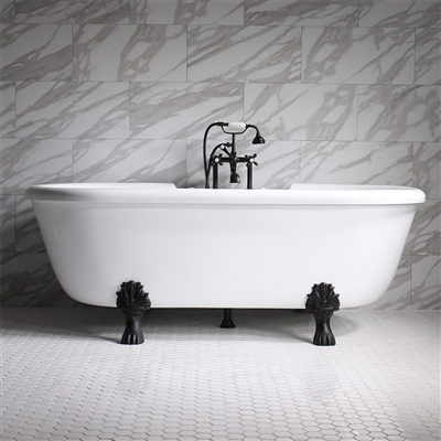 "<br>SS75W 75"" SanSiro WATER Jetted Double Ended Clawfoot Tub Package"