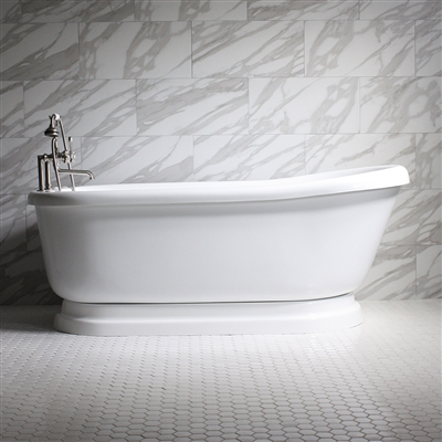 "<br>SSPD73W 73"" SanSiro WATER Jetted Single Slipper Pedestal Tub Package"