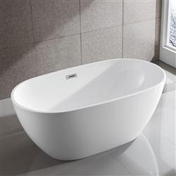 SanSiro Thin Modern 59in Oval Acrylic Bathtub