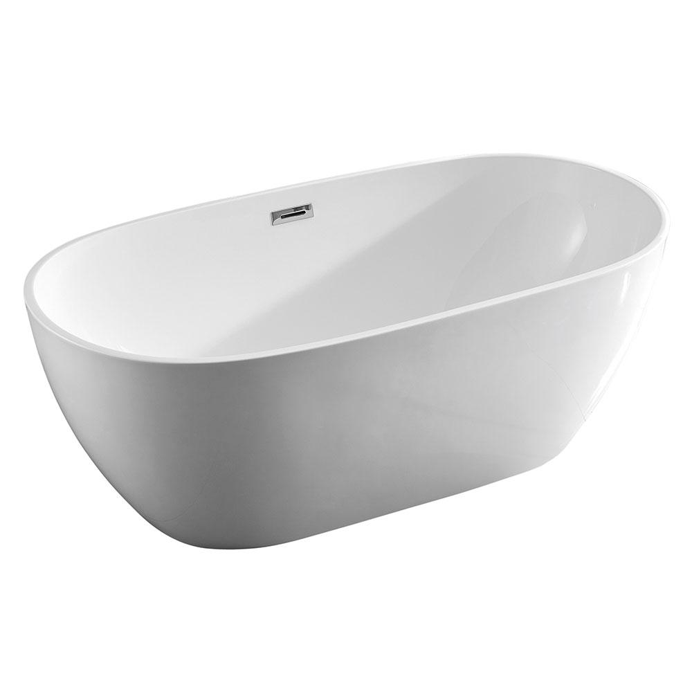 Sansiro Aquino 71 Acrylic Freestanding Modern Soaker Bathtub Drain