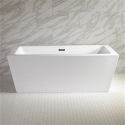 SanSiro 'Asti59C' 59 Inch Freestanding Modern Acrylic Center Drain Bathtub in White