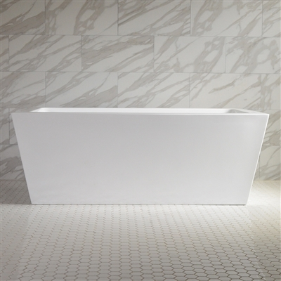 SanSiro 'Asti59E' 59 Inch Freestanding Modern Acrylic End Drain Bathtub in White