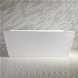 <br>SanSiro 'Asti67E' 67 inch End Drain High Gloss White ACRYLIC Freestanding Soaker Bathtub and Drain