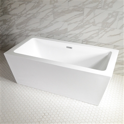 SanSiro 'Asti73C' 73 Inch Freestanding Modern Acrylic Center Drain Bathtub in White