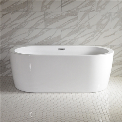 <br>SanSiro 'Augusta59C' 59 inch Center Drain High Gloss White ACRYLIC Freestanding Soaker Bathtub and Drain