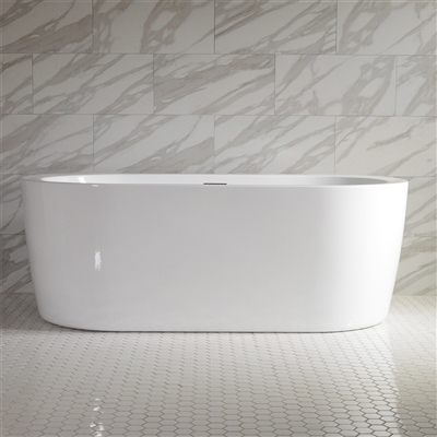 SanSiro 'Augusta59E' 59 inch End Drain High Gloss White ACRYLIC Freestanding Soaker Bathtub and Drain