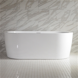 SanSiro 'Augusta67C' 67 inch Center Drain High Gloss White ACRYLIC Freestanding Soaker Bathtub and Drain