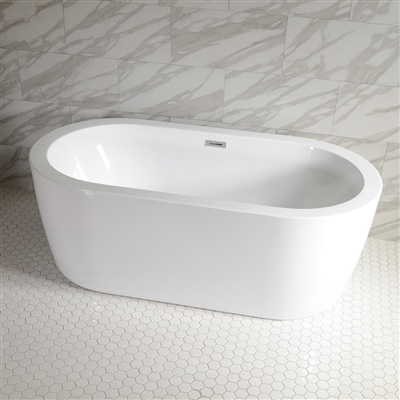 SanSiro 'Augusta71C' 71 x 35 inch Center Drain High Gloss White ACRYLIC Freestanding Soaker Bathtub and Drain