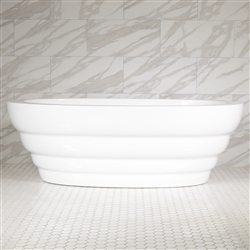 SanSiro 'Cosmos67C' 67 inch Center Drain High Gloss White ACRYLIC Freestanding Soaker Bathtub and Drain