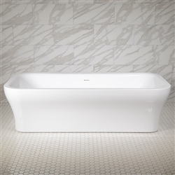 Simp-Eclipse79C 73 Inch Freestanding Modern Acrylic Center Drain Bathtub in White