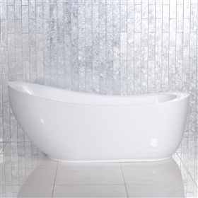 SanSiro 'Feronia71' 71 inch long High Gloss White ACRYLIC Freestanding Soaker Bathtub and Drain NO FAUCET