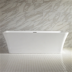 <br>SanSiro 'Sandava67' 67inch Center Drain High Gloss White ACRYLIC Freestanding Soaker Bathtub and Drain