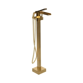 'The Waterlands' No.041BB Freestanding Floor Mounted Tub Faucet in Brushed Brass