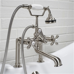 Deck mounted Victoriana vintage tub filler in Brushed Nickel