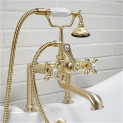 Deck mounted Victoriana vintage tub filler with specialty Brushed Brass living finish