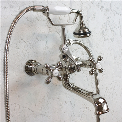VF110TWMPN Victoriana Wall Mount Tub Faucet with Handheld Shower in POLISHED NICKEL