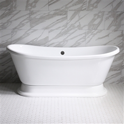 "<br>VTABT59 59"" <b>HOT AIR</b> Jetted French Bateau Tub with Drain and Concealed Blower"