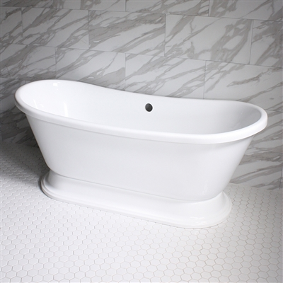 "<br>VTABT73 73"" HOT AIR Massage French Bateau Tub with Drain and Concealed Blower"
