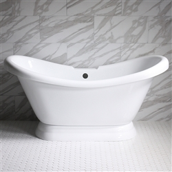"<br>VTADS59 59"" <b>HOT AIR</b> Jetted Double Slipper Tub with Drain and Concealed Blower"