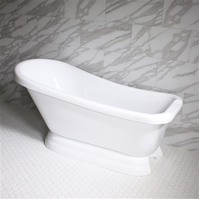 "<br>VTASL67 67"" HOT AIR Massage Single Slipper Tub with Drain and Concealed Blower"