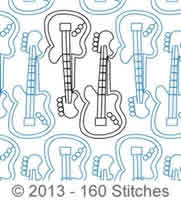 Digital Quilting Design Guitars by 160 Stitches.