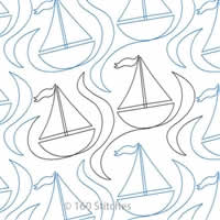 Digital Quilting Design Simple Little Sailboats by 160 Stitches.