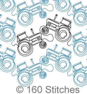 Digital Quilting Design Tractor Panto by 160 Stitches.