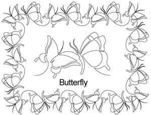 Digital Quilting Design Butterfly Border Set by Anne Bright.