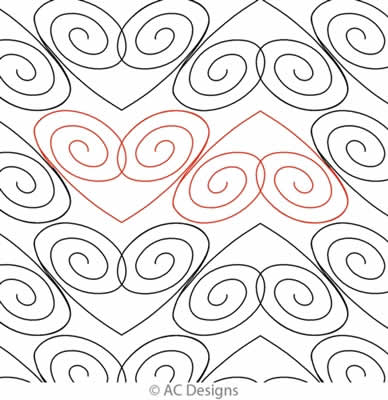 Digital Quilting Design Cotie's Heart Panto by AC Designs.