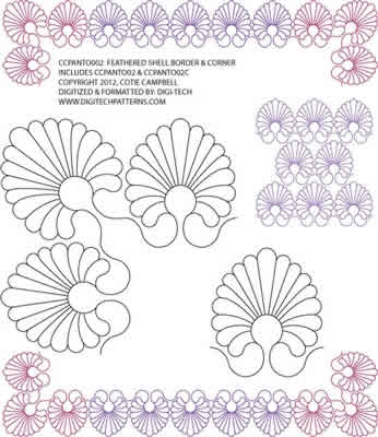 Digital Quilting Design Feathered Shell Border by AC Designs.