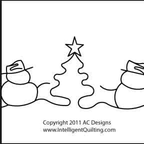 Digital Quilting Design Snowmen Border by AC Designs.