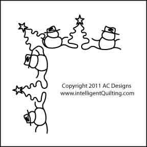 Digital Quilting Design Snowmen Border Corner by AC Designs.