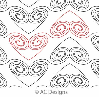 Digital Quilting Design Open Spiral Heart Panto by AC Designs.