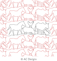 Farm Animals Panto by AC Designs. This image demonstrates how this computerized pattern will stitch out once loaded on your robotic quilting system. A full page pdf is included with the design download.