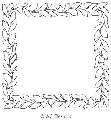 Fire Vine Frame by AC Designs. This image demonstrates how this computerized pattern will stitch out once loaded on your robotic quilting system. A full page pdf is included with the design download.
