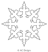 Snowflake Circle 7 by AC Designs. This image demonstrates how this computerized pattern will stitch out once loaded on your robotic quilting system. A full page pdf is included with the design download.