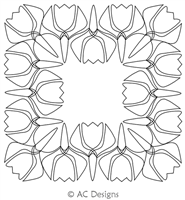 Spring Tulip Frame by AC Designs. This image demonstrates how this computerized pattern will stitch out once loaded on your robotic quilting system. A full page pdf is included with the design download.