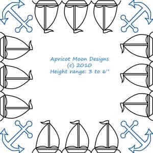 Digital Quilting Design Boat Race Border and Corner by Apricot Moon.